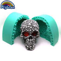 BIG SKULL Silicone Mold For Gypsum Decoration 3D Halloween Cake Mold Large Size Skull Skeleton Handmade Resin Candle Mould S0511