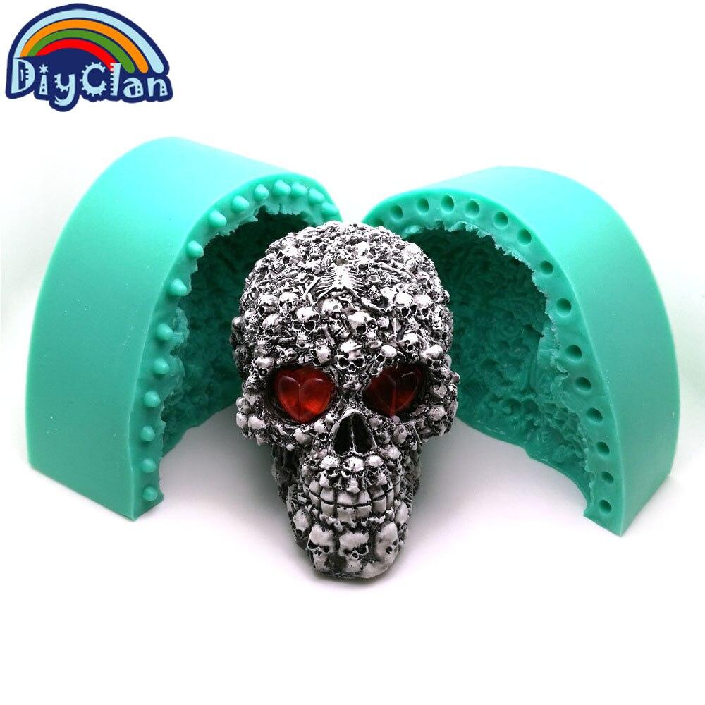 Grand moule en silicone crâne pour décoration de gypse 3D moule à gâteau Halloween grande taille crâne squelette à la main résine bougie moule S0511