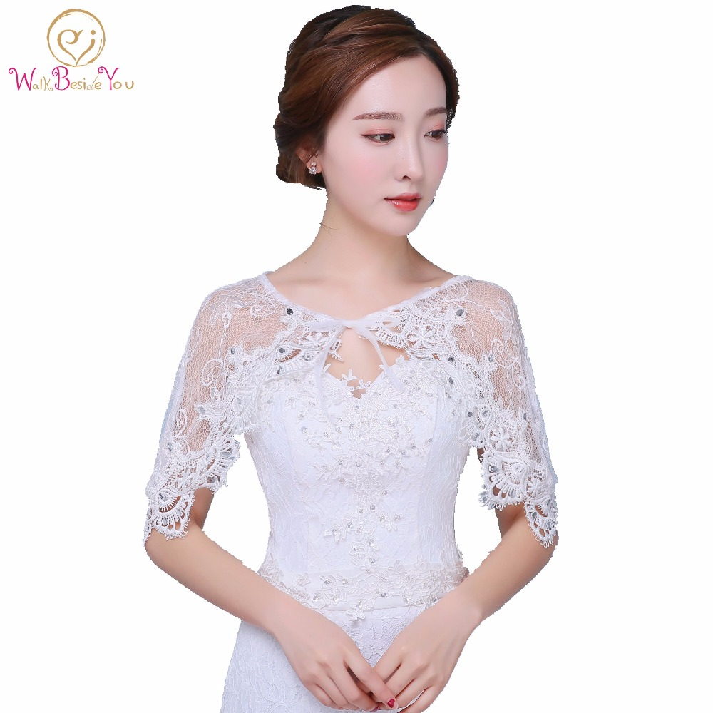 Stock White Bolero Women Lace Crystal Bohemia Cape Bridal Wraps Wedding Accessories Evening Capes