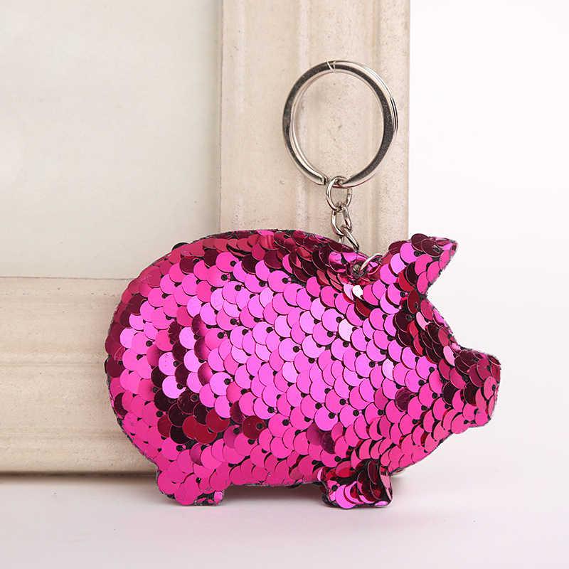 Lucu Chaveiro Babi Gantungan Kunci Glitter Pompom Payet Gantungan Kunci Hadiah untuk Wanita Llaveros Mujer Tas Mobil Aksesoris Gantungan Kunci 6C2617