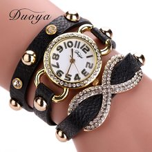 New Arrive Duoya Watches Women Gold Luxury Leather Band Bracelet Wristwatch Women Dress Sport Wristwatches Business