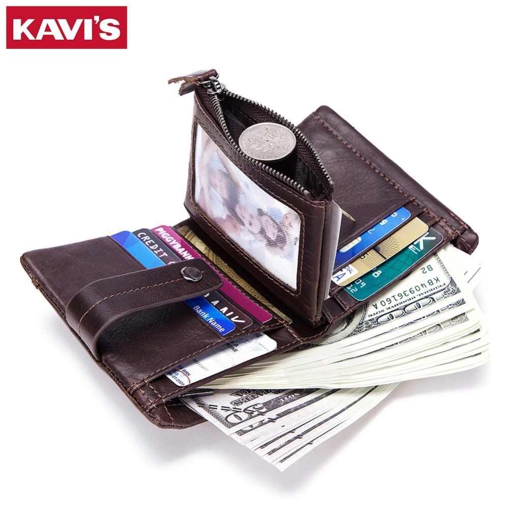 KAVIS ของแท้หนังผู้ชายกระเป๋าสตางค์ชายกระเป๋าขนาดเล็ก Portomonee กระเป๋าแฟชั่น MINI Walet เงินกระเป๋าสำหรับเหรียญ