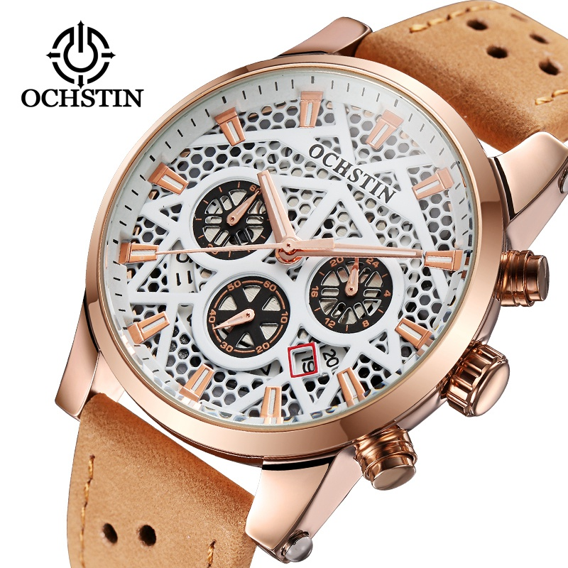 Top Brand OCHSTIN Fashion Male Genuine Leather Watches Men's Waterproof Quartz WristWatches Delicate Dial Gift Clock For Men