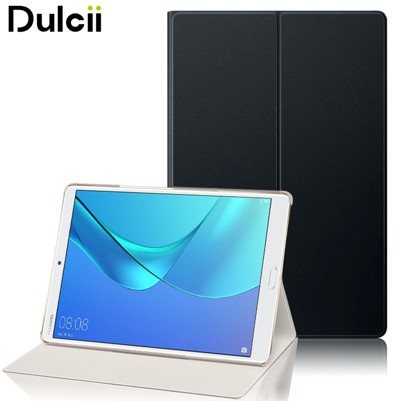 DULCII for Huawei MediaPad M5 8 Case Slim PU Leather Stand Tablet Wake Sleep Case for Huawei MediaPad M5 8 - 8.4 silicone with bracket flat case for huawei mediapad m5 8 4 inch