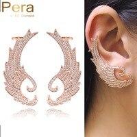 Pera rosa color oro di nuovo modo punk incisione gioielli delle signore di lusso micro pave cubic zirconia big orecchini del polsino dell'orecchio e083