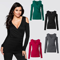Europe sexy ladies cross Front v neck long-sleeved women T shirt off shoulder Slim stretch bottoming t-shirt female tops Z2596