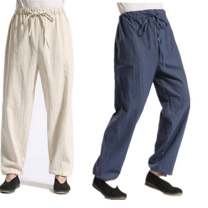 Los 4 Algodón Transpirable Casual Yellow beige earth Sueltos Ancha Vinculante Pierna Hombres Kz0002 Lino Black Natural White Suave Pie Pantalones De Colores Gray blue 6qCx5wXdn