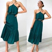 Women halter crop top skirt two piece set summer to