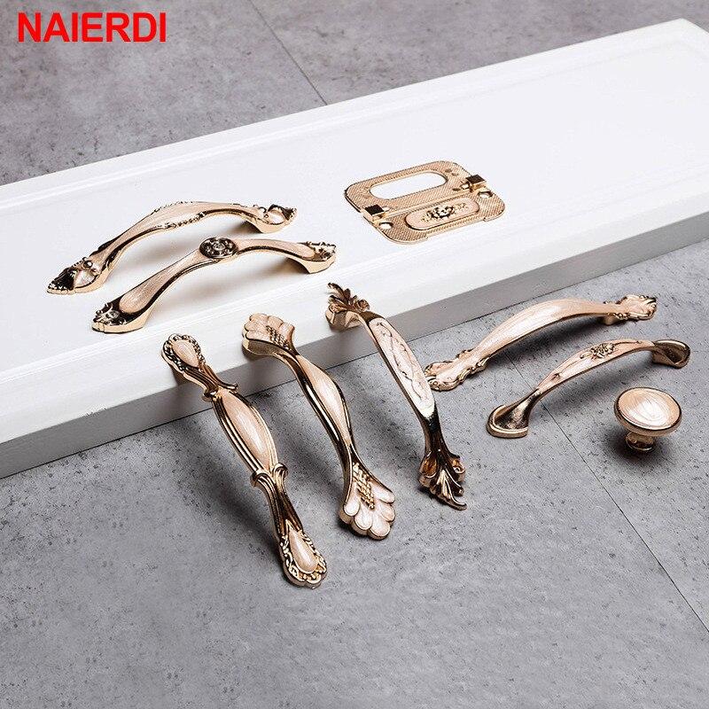NAIERDI Amber White European Cabinet Handles Aluminum Alloy Door Kitchen Knobs Cabinet Pulls Drawer Knobs Wardrobe Handle