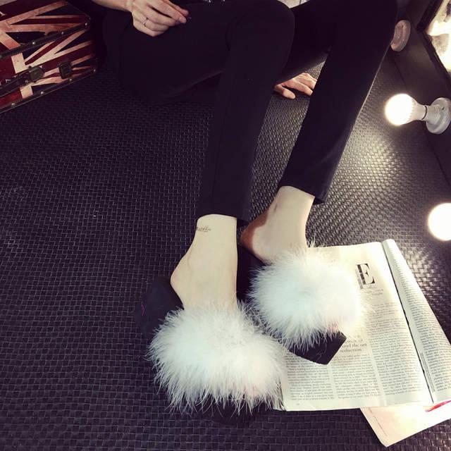 c2c5f7961149 placeholder Fur Slide Flip Flops Women Ostrich Feather Home Slippers Female  Sweet Fenty 5 cm Wedges Sandals