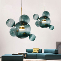 Nordic Glass Ball Mickey Pendant Lights LED Loft Hanglamp Magic Bean DNA Hanging Lamp Luminaira Home Fixtures Industrial Decor