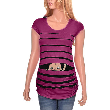 e97a5eeaa Mujer camiseta De maternidad bebé a rayas De manga corta con estampado lindo  divertido embarazada Tops embarazo camisas Ropa materna De Moda
