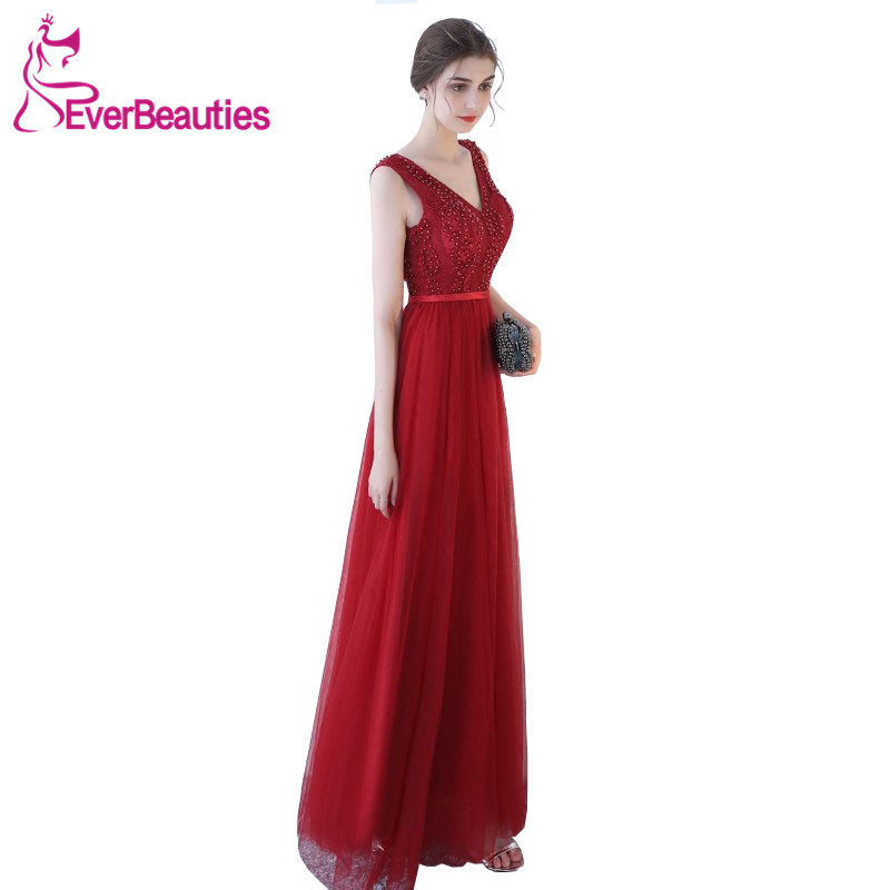 Evening     Dresses   Long 2019 Tulle Beaded V Neck Backless Sexy   Evening   Gowns Party Gowns Abiye Robe De Soiree Abiti Sera Donna
