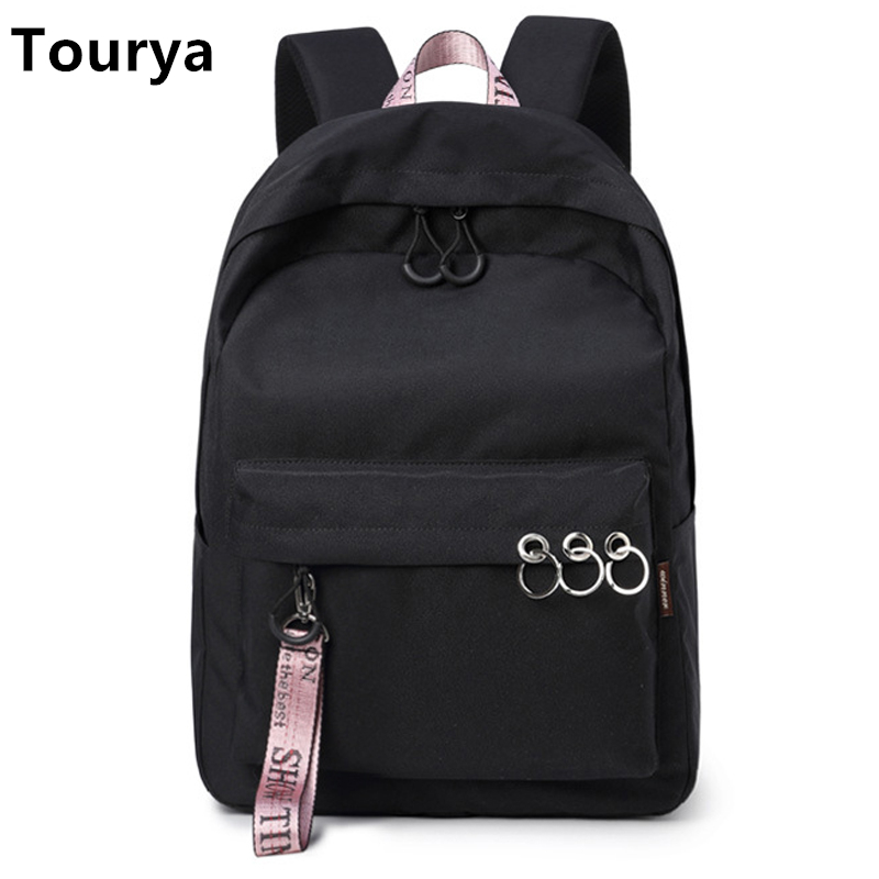 Tourya Fashion Waterproof Women Backpack Large Capacity Solid College Bookbags School Bags For Teenage Girls Travelling Knapsack