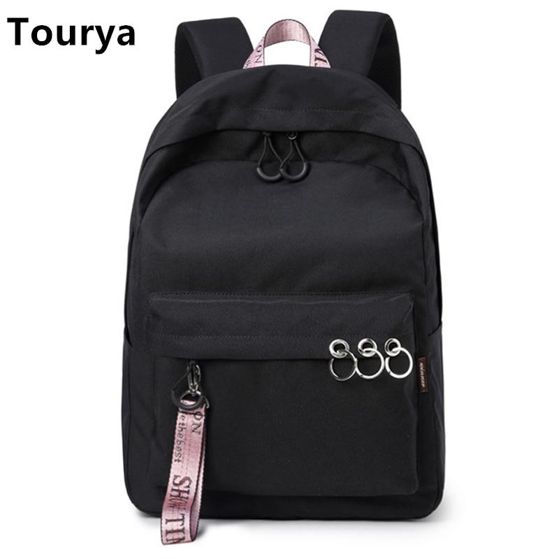 Tourya Fashion Waterproof Women Backpack Large Capacity Solid College Bookbags School Bags For Teenage Girls Travelling Knapsack