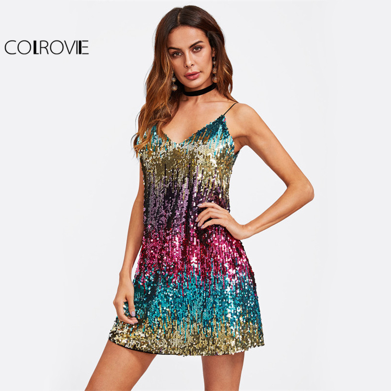 COLROVIE Colorful Sequin Party Club Dress Women Sexy A Line Mini Summer Cami Dresses Fashion Sleeveless V Neck Hot Dress Платье