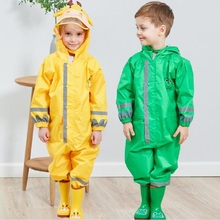 WINSTBROK 子供レインコートレインパンツ子供漫画防水レインウェア少女と少年ポンチョ不浸透性レインコート雨ジャンプスーツ