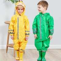 WINSTBROK, Impermeable para niños, pantalones de lluvia para niños, ropa Impermeable para niños y niñas, Poncho Impermeable, chubasquero, mono de lluvia