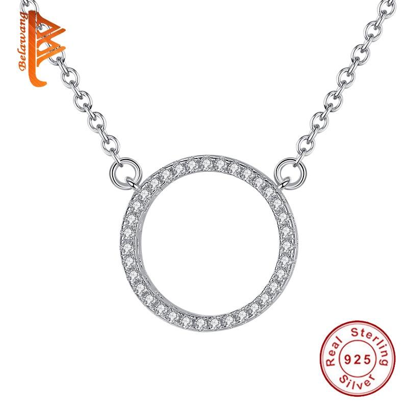 Fashion brillant S925 Véritable Argent Sterling Rond Pendentif Colliers minimaliste