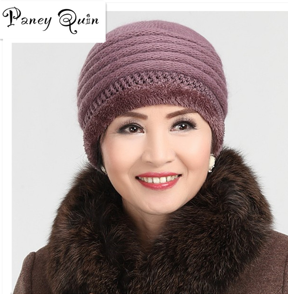 Women's Winter Hats rabbit knitting wool hat old aged Rabbit's hair winter female hat cap wholesale middle-aged mother grandma