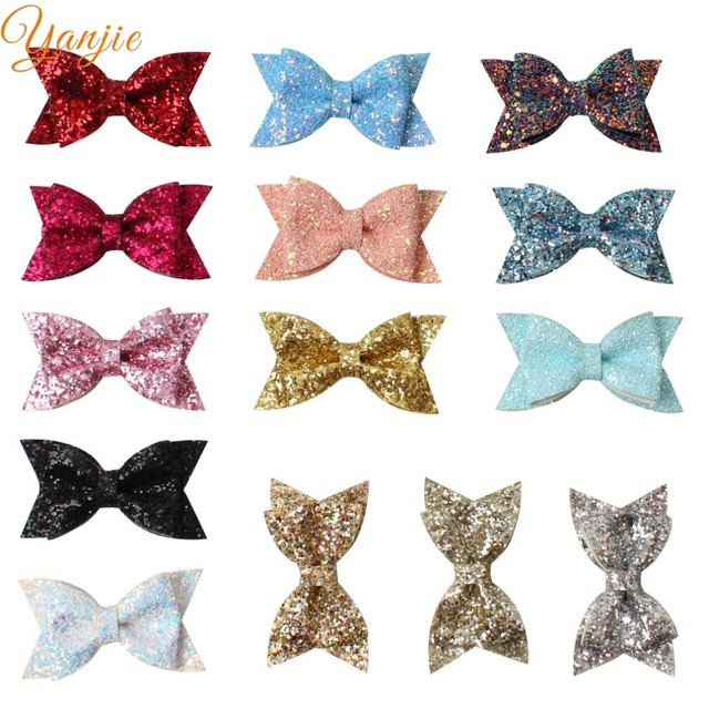 e8877ed713a 14pcs lot 3.5   Glitter Sequin Chunky Leather Hair Bow Hair Clips For Girls  2019 Mini Hair Bows Hairgrips Solid Hair Accessories