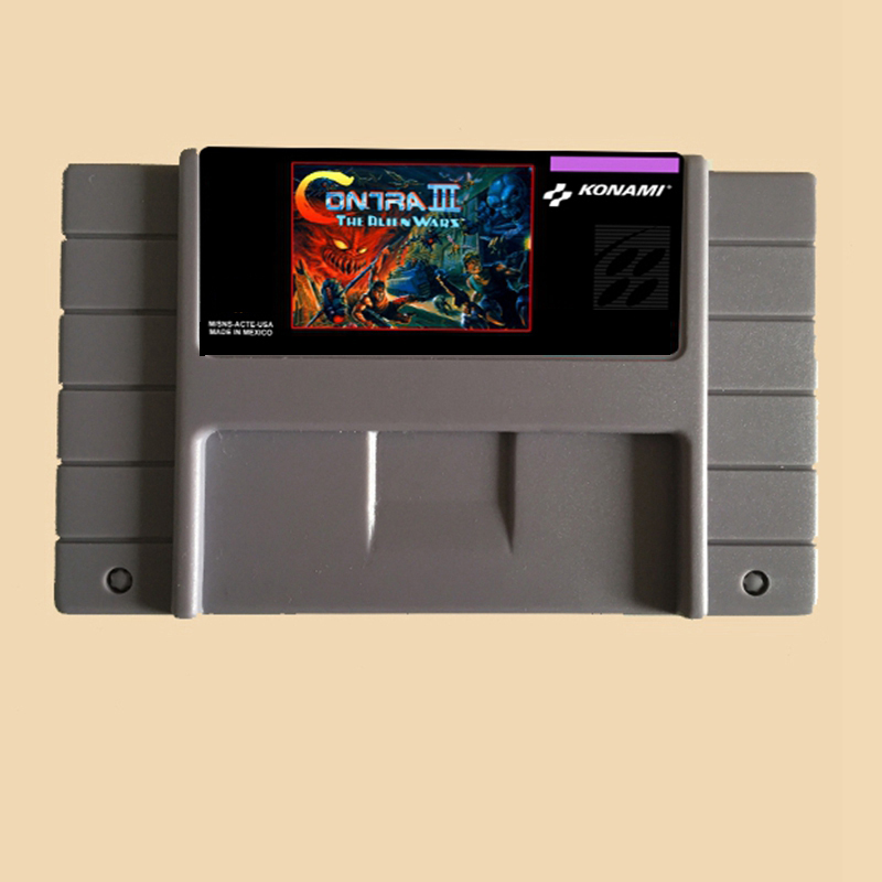 Contra III-The Alien Wars 16 bit Big Gray Game Card For NTSC Game Player Drop Shipping