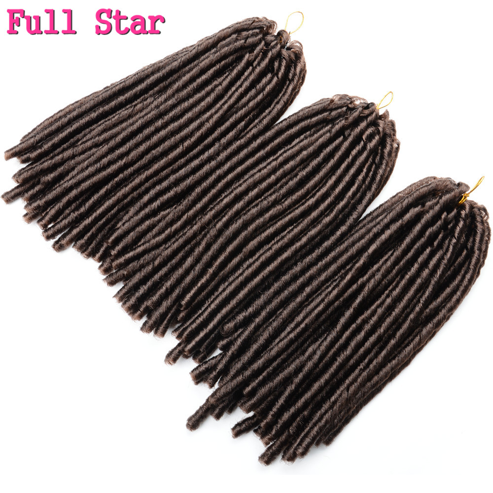 Full Star 1pcs 14 inch 70g Blonde Faux Locs Flod 30 roots Crochet Braids Low Temperature Fiber Hair Brown Black synthetic Hair