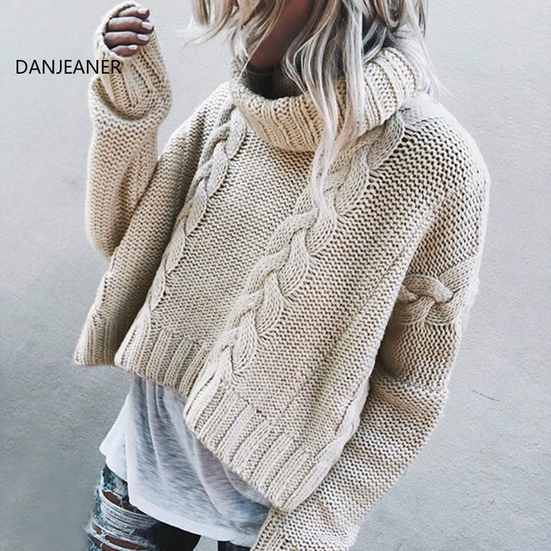 DANJEANER Autumn Winter Short Thick Sweater Vintage Twisted Turtleneck Knitted Pullovers Women Warm Solid Knitwear Sueter Mujer