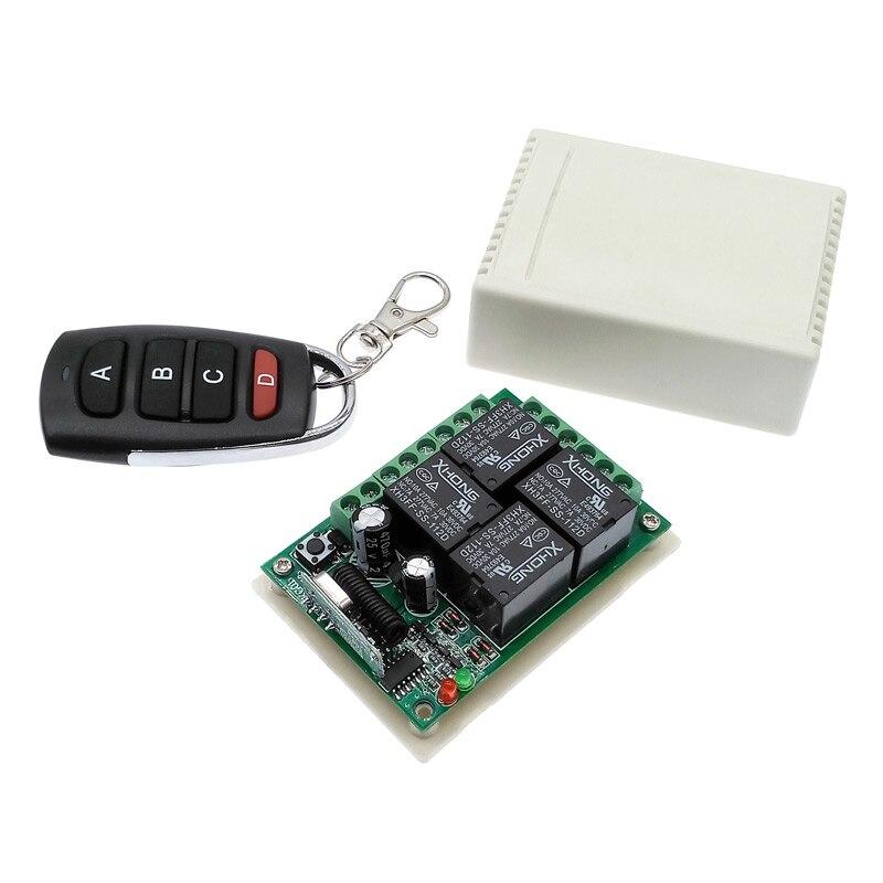 4 vias sem fio interruptor de controle remoto 433 mhz dc 12 v relé módulo receptor rf 4no + 4nc controlador