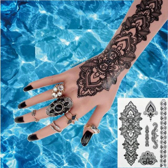 0e9a30f56 #BH-1 Mandala Henna Tattoos Temporary Black Henna Tattoos Sexy Body Tattoo  Stickers