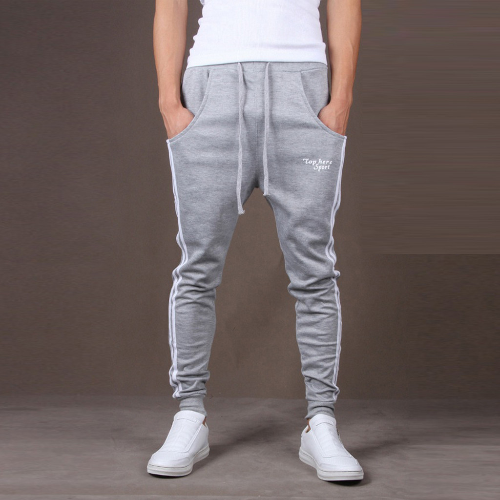 Men Sports Trousers Drawstring Stripe Theaterpants Joggers Pants Simple Plus Size Fitness Male Workout Training Sportswear(China)