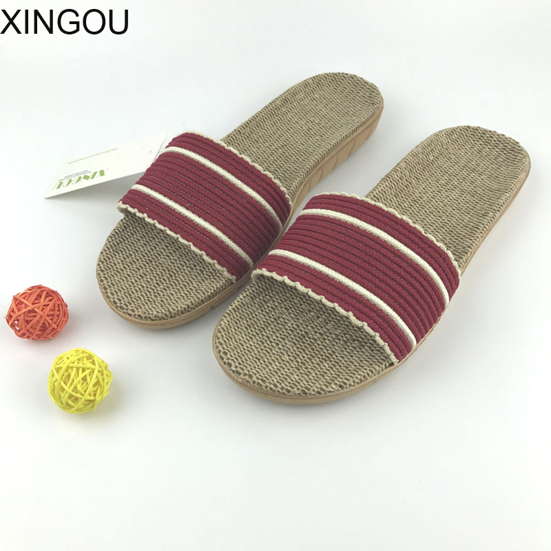 Natural flax home slippers women summer slippers home Hemp Comfortable female slippers home indoor home slipper and Linen Slides coolsa women s summer striped linen slippers women hemp slides women s flax slippers breathable non slip fashion indoor slippers