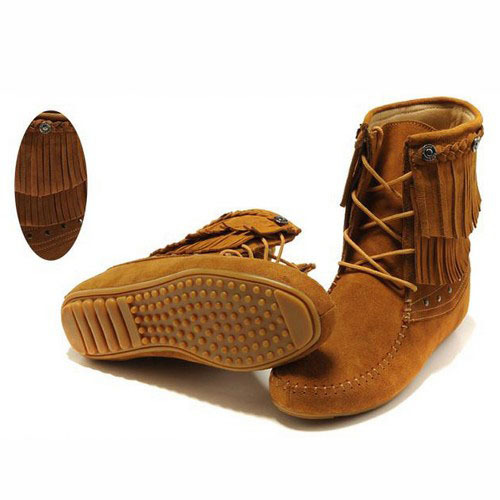 ФОТО US 5-9  NEW Women's Genuine Leather Lace Up tassel Fringe Moccasin Flat Ankle Boots womens shoes