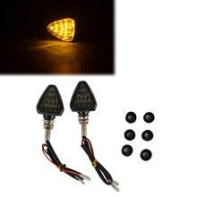 MAYITR 2x Universal Motorcycle 12LED Turn Signal Indicator Light Blinker Smoke Lens Amber Lamp Short Stalk High Quality
