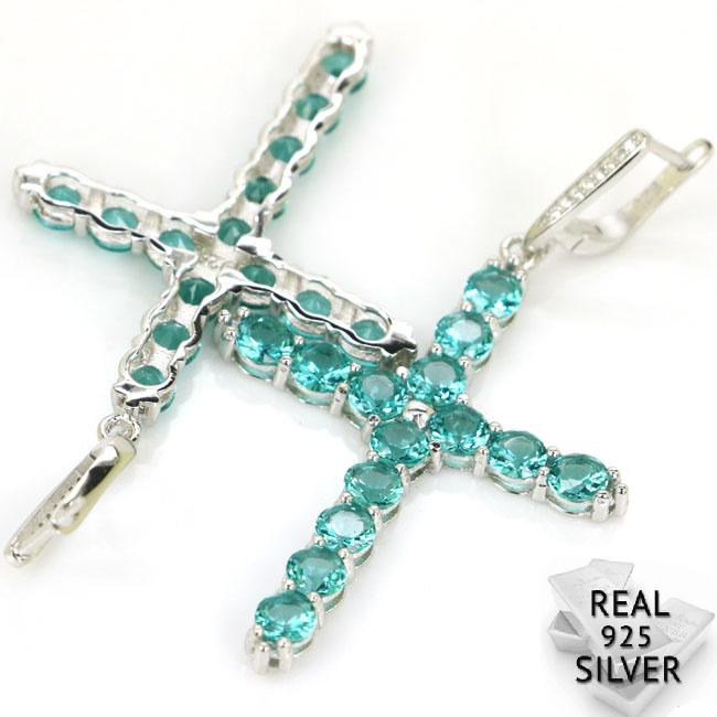 Real 11.0g 925 Solid Sterling Silver Classic Long Cross Rich Blue Aquamarine Woman's Earrings 68x38mm