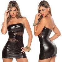 HOT Sale Sexy Lingerie Set Black/Silver Bronzier Bodysuit Short Skirt+G-string Set Lady Sexy Tight Nightgown Uniform for women