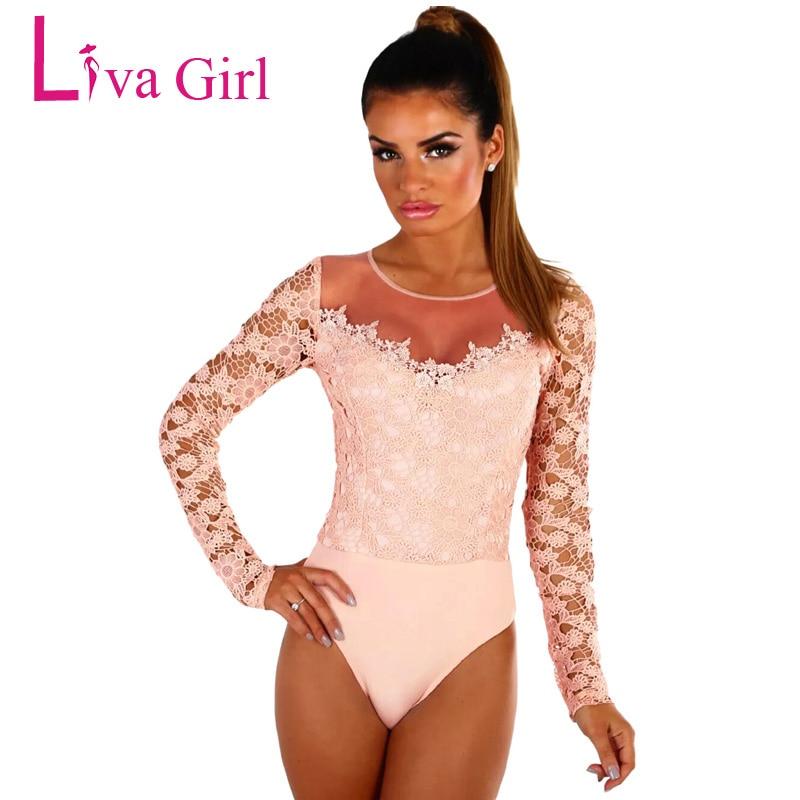 99aa9d9cefae € 14.46 40% de DESCUENTO|Liva Girl Sexy Lace Bodysuit mujer Crochet malla  hombro manga larga monos primavera otoño 2019 negro blanco mono-in ...
