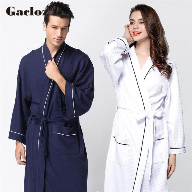 Gacloz Lovers Waffle Cotton Bathrobes Plus Size Kimono Nightgown Lovers Robes Women Spa Bath Robe Nuisette