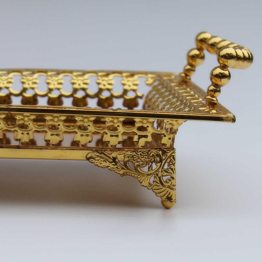 Gratis Pengiriman Emas Mewah Menyelesaikan Baki Logam Berongga Pelat Logam
