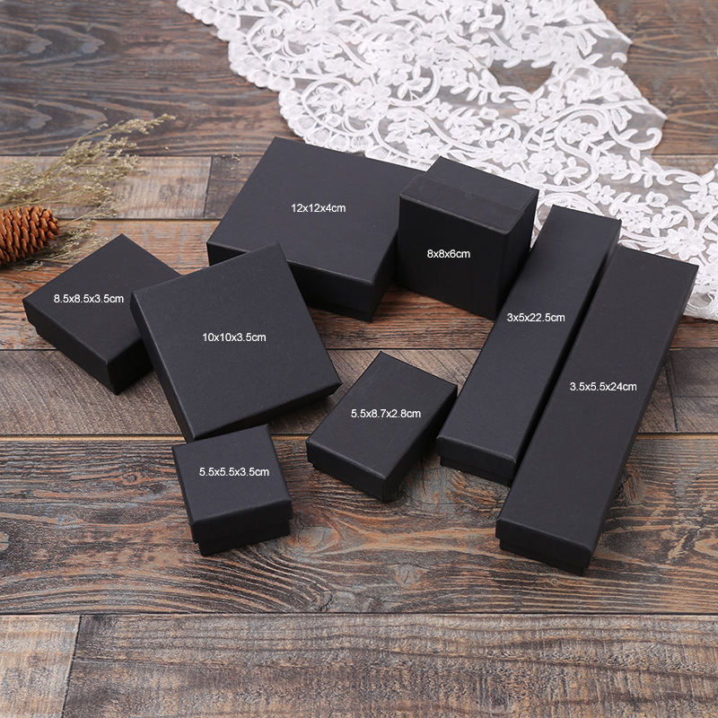 5 Pack Cotton Filled Matte Black Paper <font><b>Cardboard</b></font> Jewelry Gift And Retail Boxes Case <font><b>Ring</b></font> Necklaces Bracelet <font><b>Box</b></font> image
