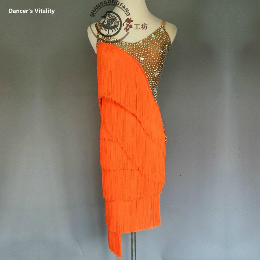 Luxury Latin Dance Dress For Women Stones Tassel  Latin Dance Dress Girls Latin Dance Dress Latin Dance Clothes 120-180cm