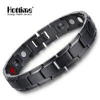 Hottime Brand Design Fashion Health Energy Bracelet Bangle Men Black Jewelry Stainless Steel Bio Magnetic Bracelet