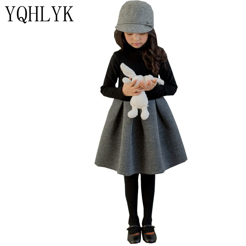 New Fashion Autumn Winter Girl Dress 2017 Korean Children Thick Cute Ball Gown Princess Dress Sweet Elegant Kids Clothes W69 newborn 2017 autumn and winter new girl cartoon plus cashmere cardigan women baby out jackets thick dress princess dress533