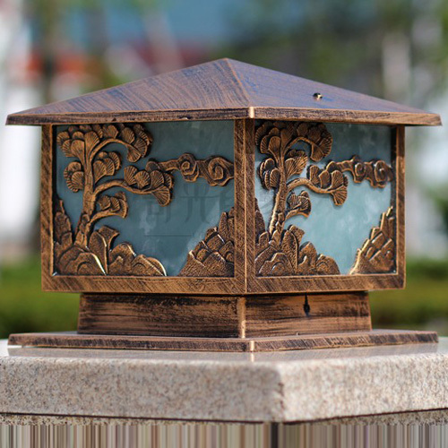 Chinese courtyard Pine Tree Carved Alloy outdoor post lights IP44 waterproof Lawn garden ...