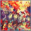 """Осенью и Зимой Женщины Шелковый Шарф 39 """"100 см Платок Маслом Дом Pattern Высокое Качество Полотенце Для Рук SP16101117"""