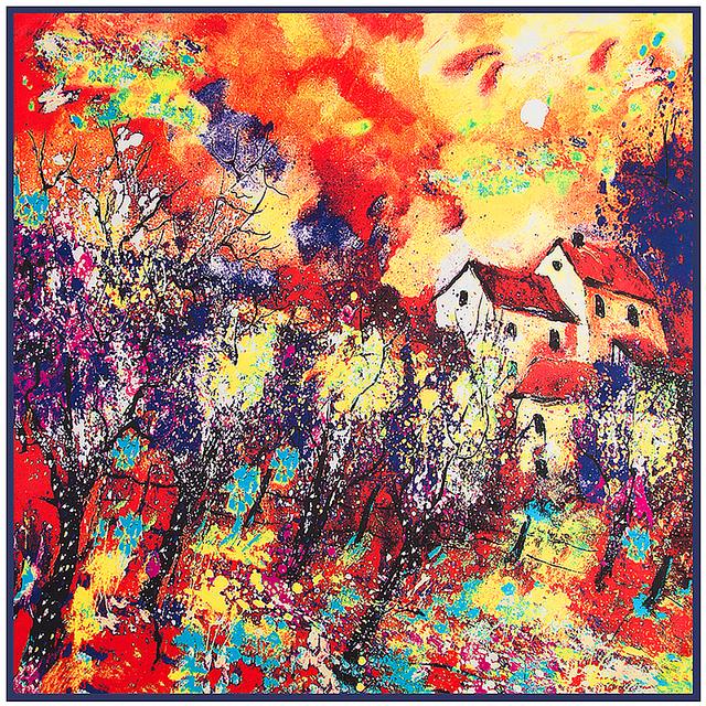 """El otoño y el Invierno de Las Mujeres de la Bufanda de Seda 39 """"100 cm Pintura Al Óleo Patrón de La Casa de Alta Calidad Toalla De Mano Pañuelo SP16101117"""