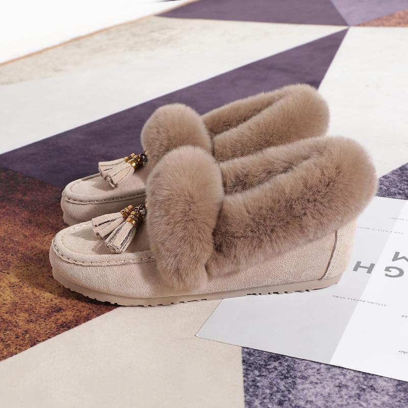 Dames Sur Neige Véritable noir De Luxe Fourrure Cuir Chaussures Gland Pour Beige Bottes 2018 En Nouvelle Swyivy Hiver Glissement Chaude Femme Lapin Appartements E7UWgpTq