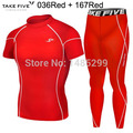 New Premium Take Five Men's Compression Skin Tight  Clothes Top & Pants Sets-036+167 Red