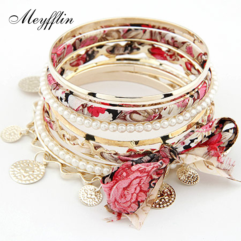 2017 Bohemian Multilayer Bracelet Femme Coin Fabric Bow Bracelets Bangles sets for Women Simulated Pearl Pulseras mujer Bijoux