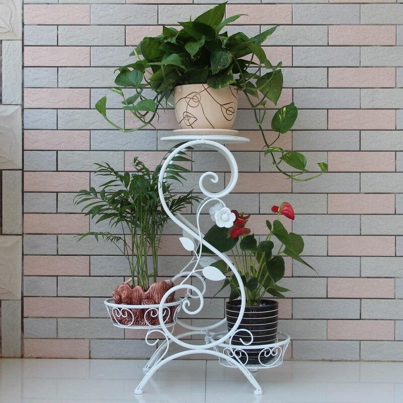 Wrought iron flower pot holder flower shelf French fashion three flower balcony flower decoration 流水 盆 養魚